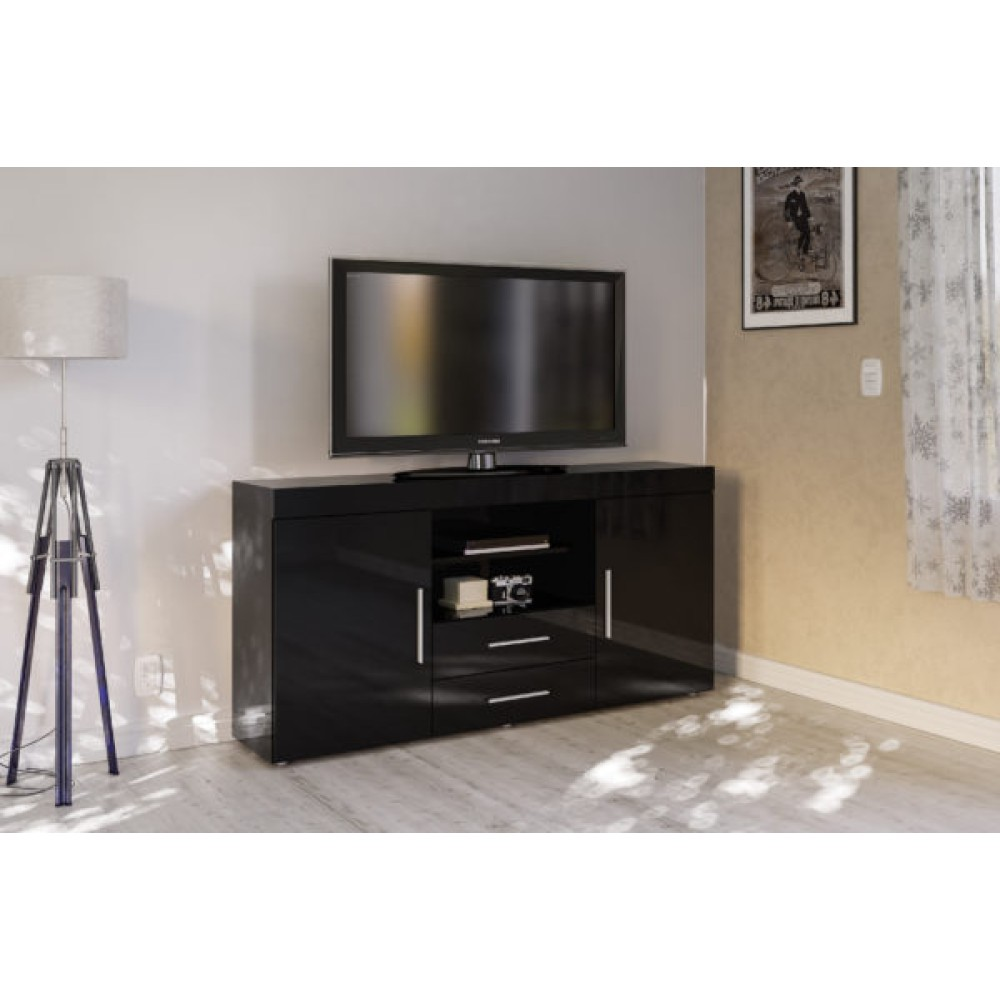 Ida Coffee Tables High Gloss White With Grey Pull Out: Edgeware Black 2 Door 2 Drawer Sideboard