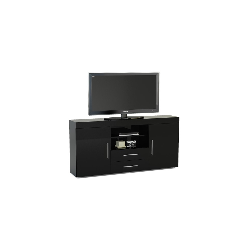 Abbey Coffee Table High Gloss White With 2 Pull Out Drawers: Edgeware Black 2 Door 2 Drawer Sideboard
