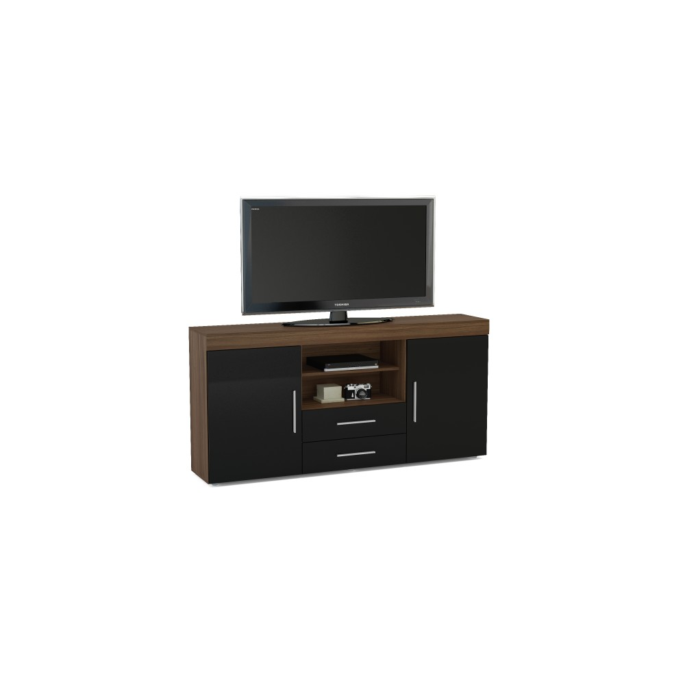 Abbey Coffee Table High Gloss White With 2 Pull Out Drawers: Edgeware Walnut & Black 2 Door 2 Drawer Sideboard
