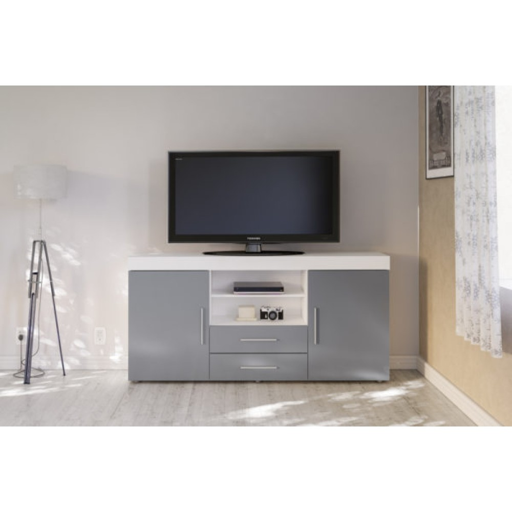 Abbey Coffee Table High Gloss White With 2 Pull Out Drawers: Edgeware White & Grey 2 Door 2 Drawer Sideboard