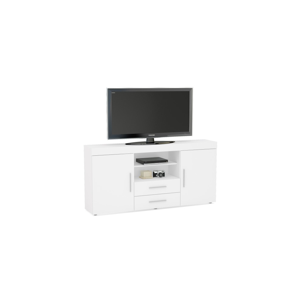 Abbey Coffee Table High Gloss White With 2 Pull Out Drawers: Edgeware White 2 Door 2 Drawer Sideboard