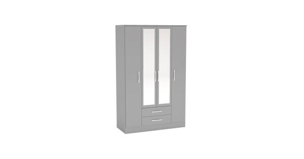 lynx grey 4 door 2 drawer wardrobe with mirror