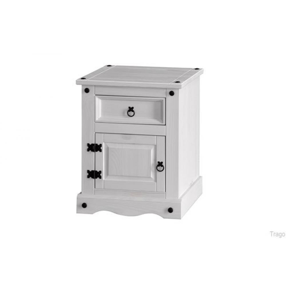 Corona White Wash Bedside Cabinet