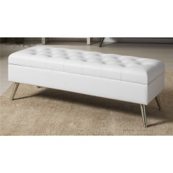 White Faux Leather Ottoman With Feet