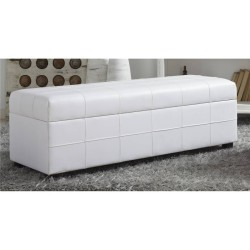 White Faux Leather Ottoman
