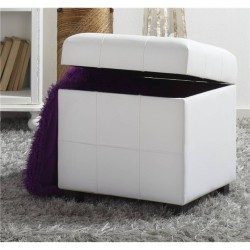 White Faux Leather Pouffe