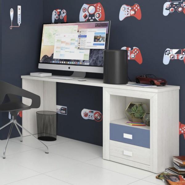 Dado Grey & Blue 2 Drawer Desk