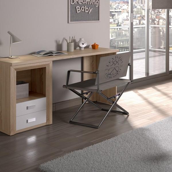 Dado Oak & White 2 Drawer Desk