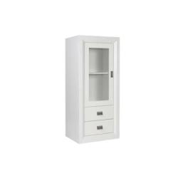 Oslo White 1 Door 2 Drawer Glass Display Unit