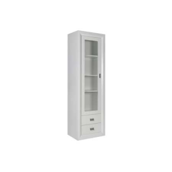 Oslo White 1 Door 2 Drawer 3 Shelf Glass Display Unit