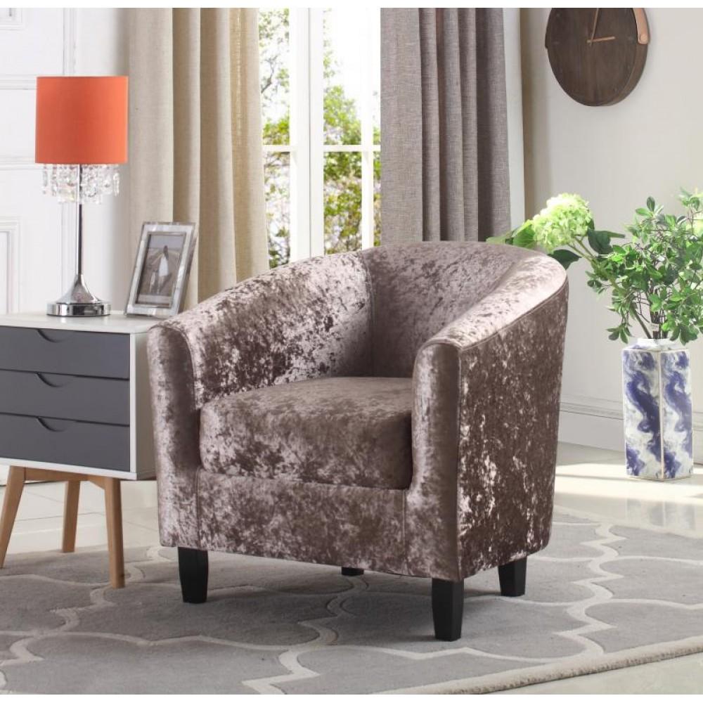 Hammond Mink Crushed Velvet Tub Chair