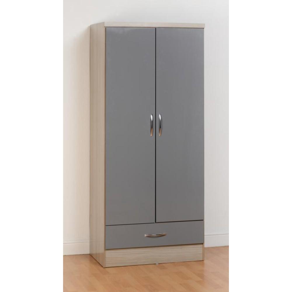 Nevada Grey 2 Door 1 Drawer Wardrobe