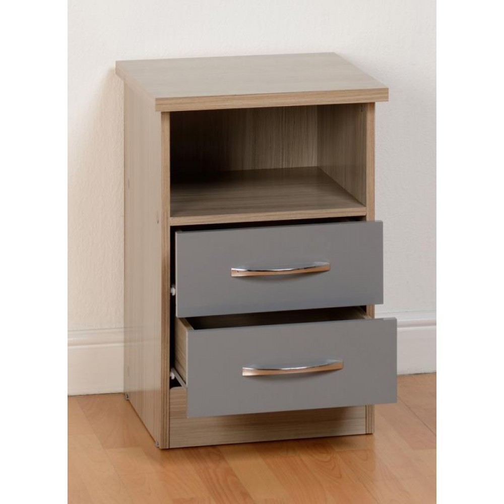 Nevada Oyster 2 Drawer Bedside Cabinet