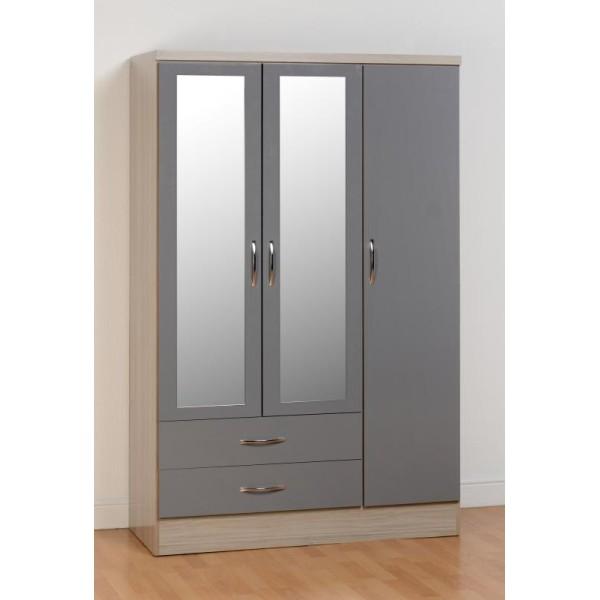 Nevada Grey 3 Door 2 Drawer Wardrobe