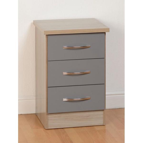 Nevada Grey 3 Drawer Bedside Cabinet