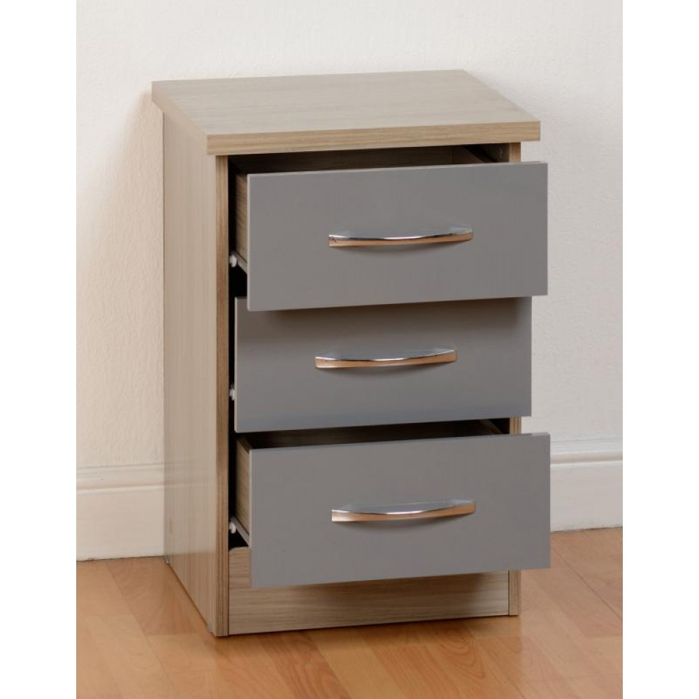 Nevada Grey 3 Drawer Bedside Cabinet