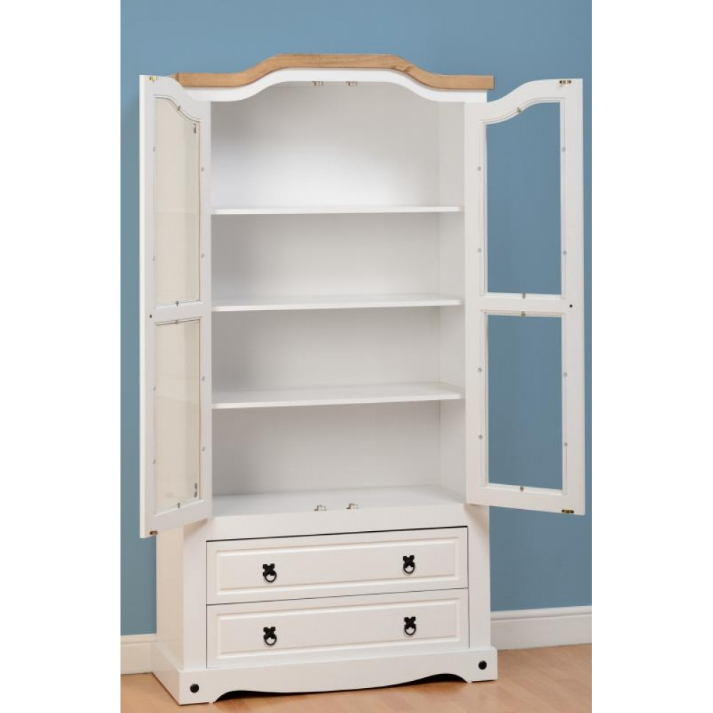 Corona White 2 Door Bookcase Display Cabinet with waxed pine top