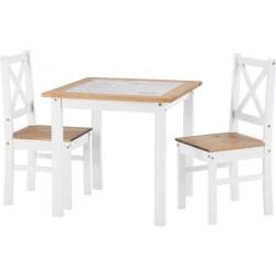 Salvador White 1+2 Tile Top Dining Set