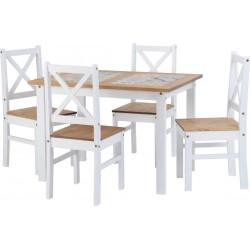 Salvador White 1+4 Tile Top Dining Set