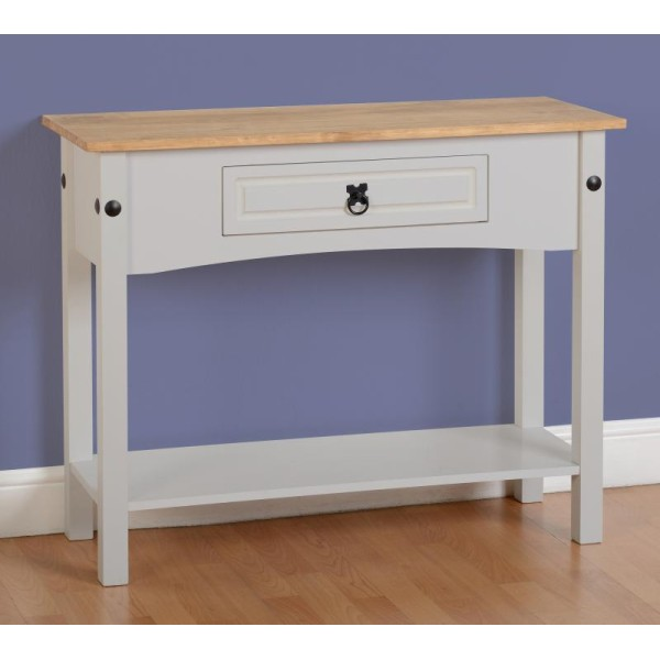 Corona Grey 1 Drawer Console Table With Shelf