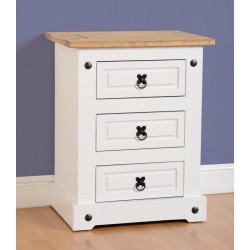 Corona White 3 Drawer Bedside Cabinet